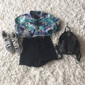High Waisted Dark Denim Button Up Shorts